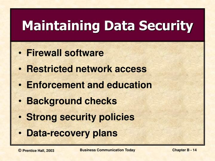 Maintaining Data Security