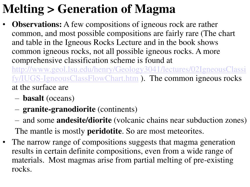 Melting > Generation of Magma