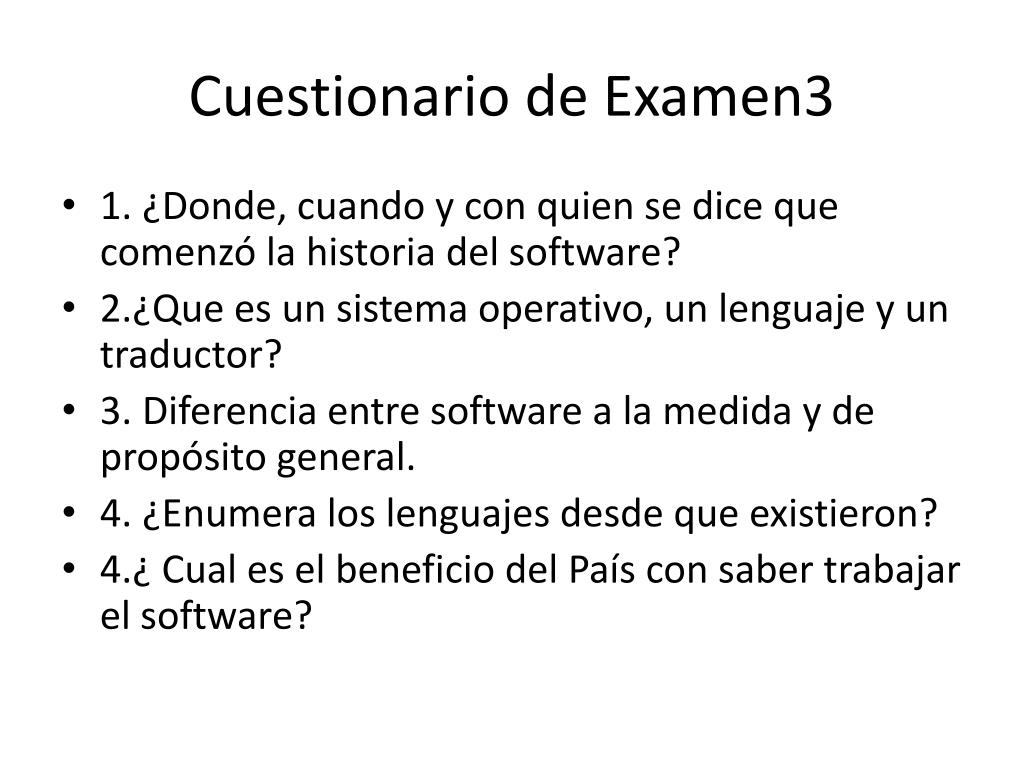 Cuestionario de Examen3