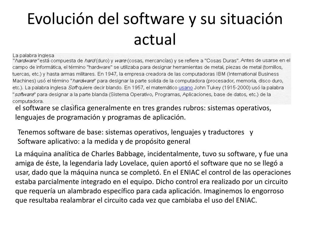 Evolución del software y su situación actual
