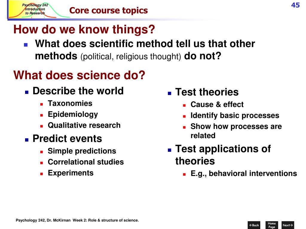 Core course topics