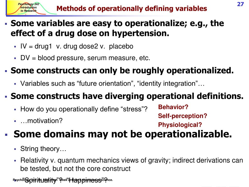 Methods of operationally defining variables