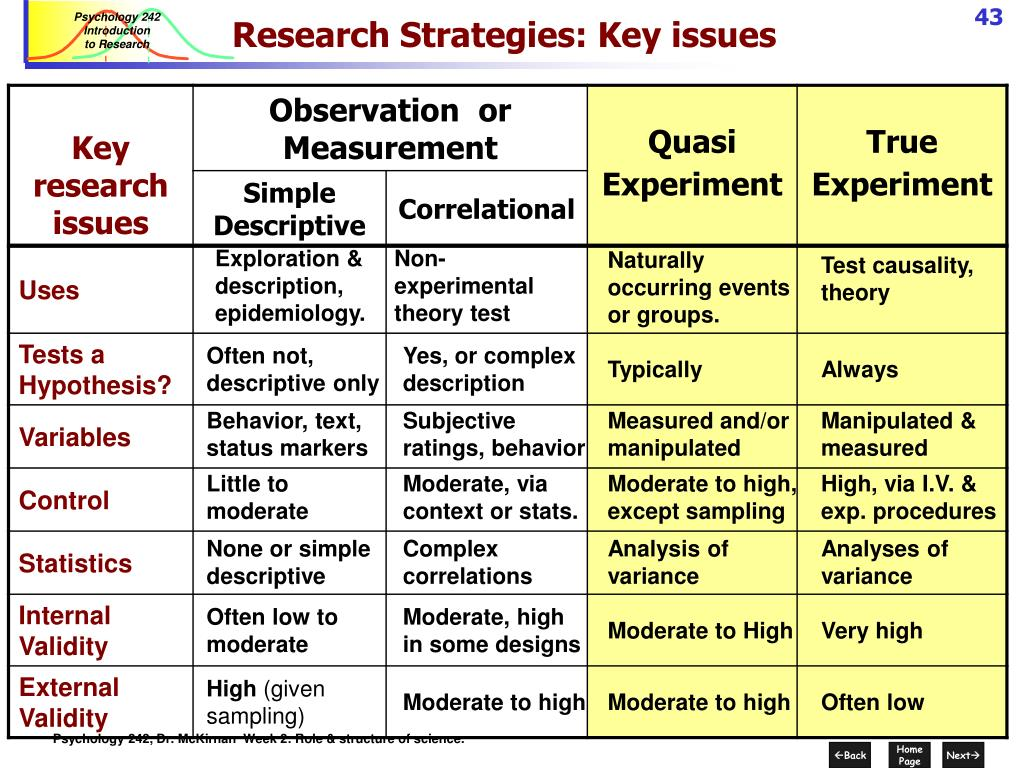 Research Strategies: Key issues