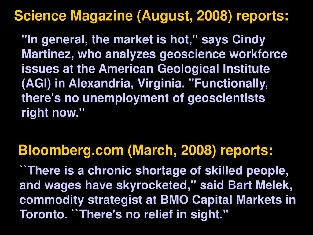 Science Magazine (August, 2008) reports: