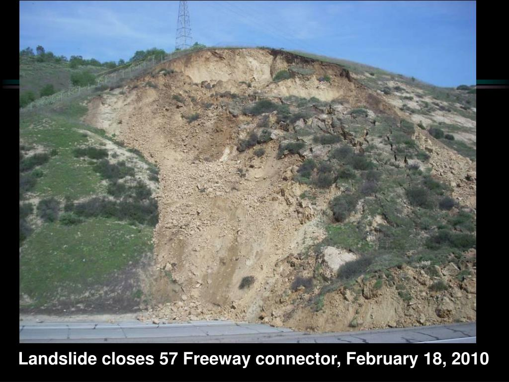 Landslide closes 57 Freeway connector, February 18, 2010
