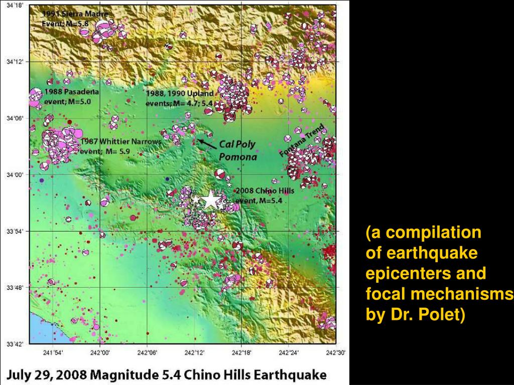 (a compilation       of earthquake epicenters and focal mechanisms by Dr. Polet)