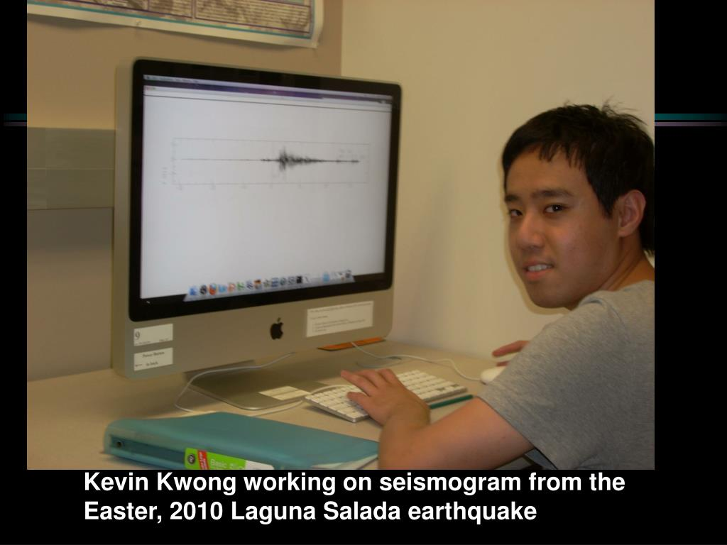 Kevin Kwong working on seismogram from the Easter, 2010 Laguna Salada earthquake