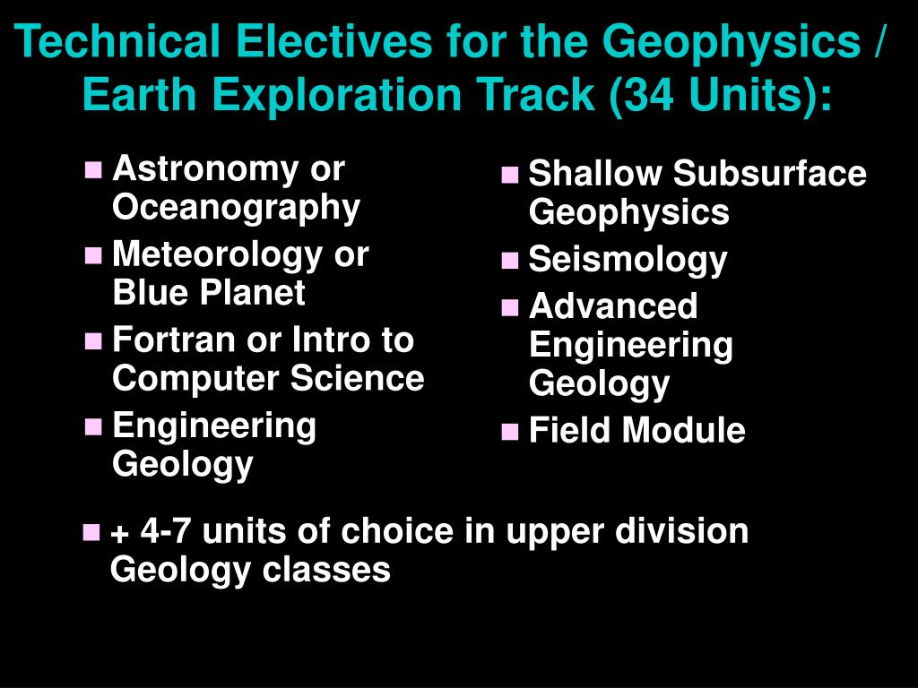 Technical Electives for the Geophysics /