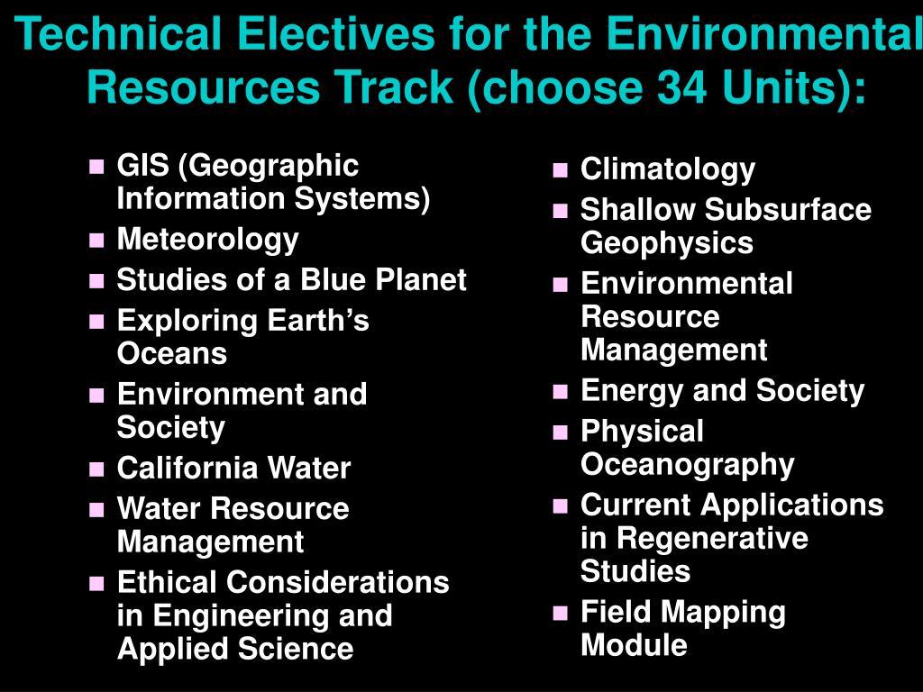 Technical Electives for the Environmental