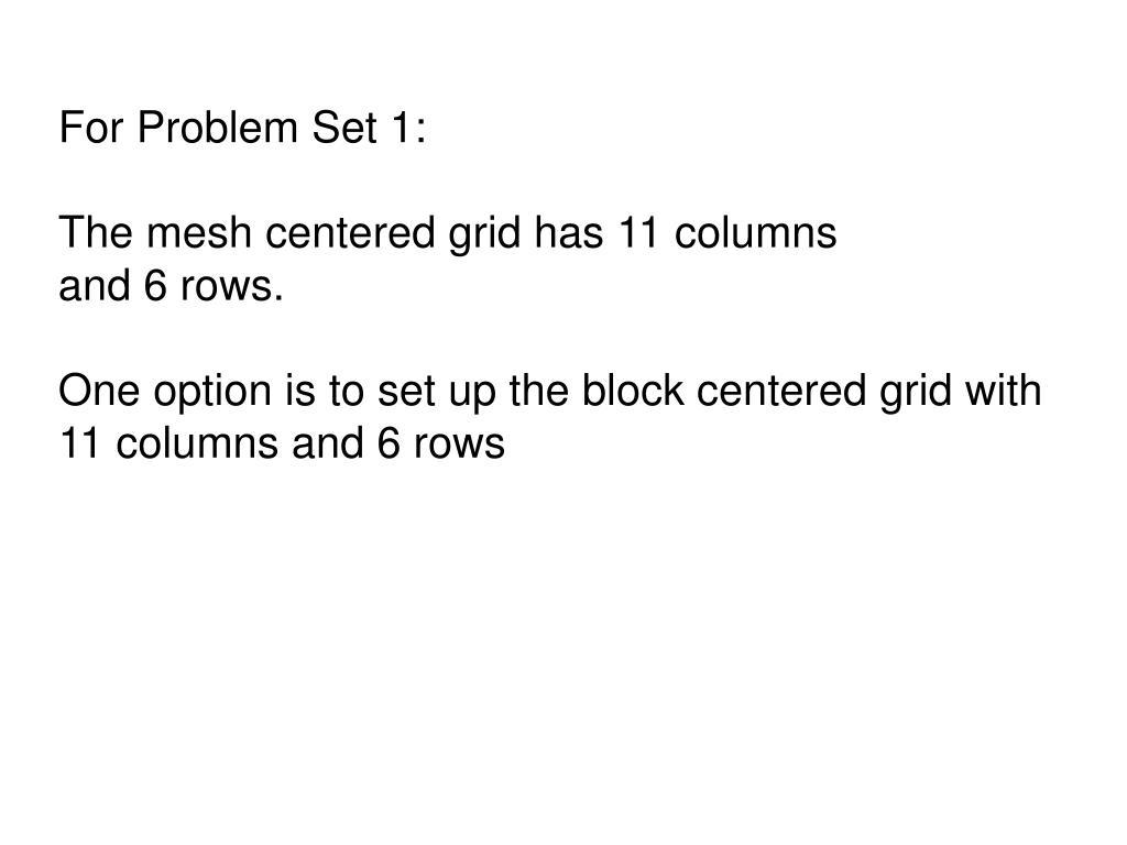 For Problem Set 1: