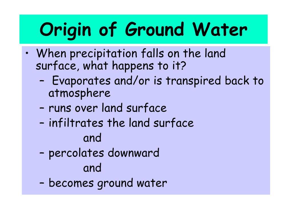 Origin of Ground Water