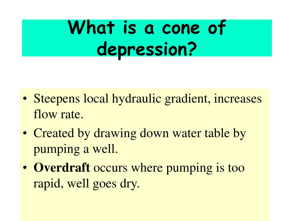 What is a cone of depression?