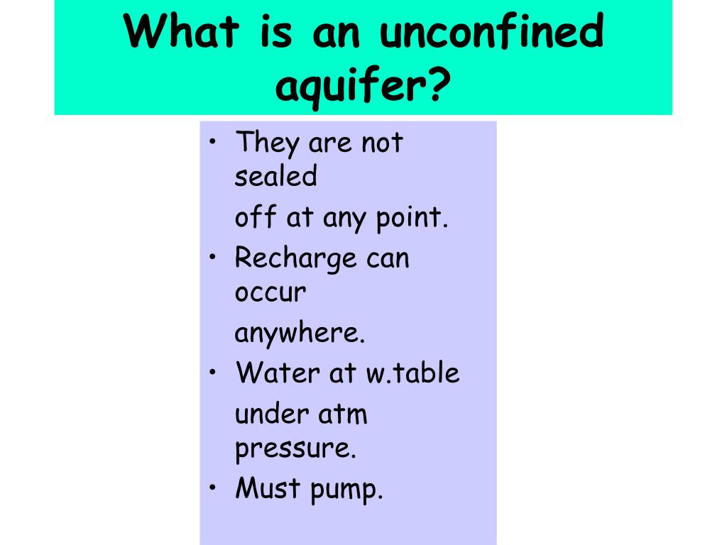 What is an unconfined aquifer?