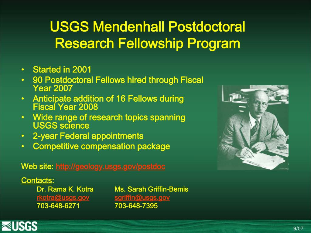 usgs mendenhall postdoctoral research fellowship program