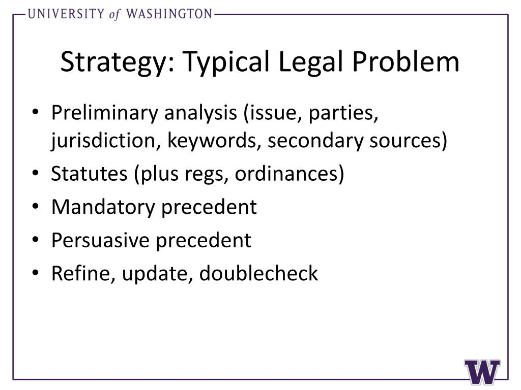 Strategy: Typical Legal Problem