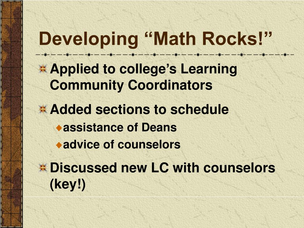 "Developing ""Math Rocks!"""
