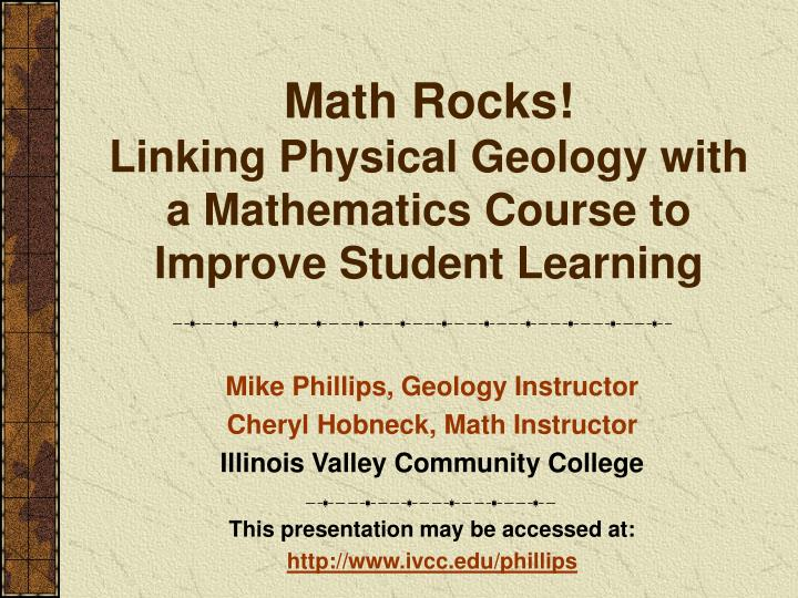 Math rocks linking physical geology with a mathematics course to improve student learning