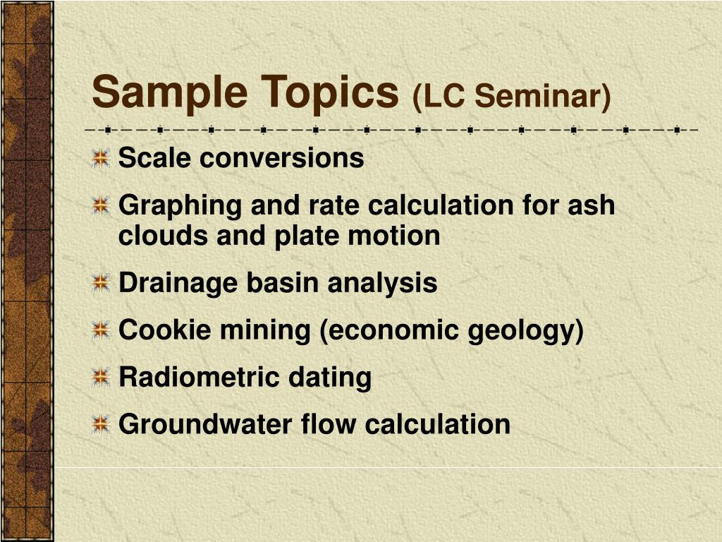 Sample Topics