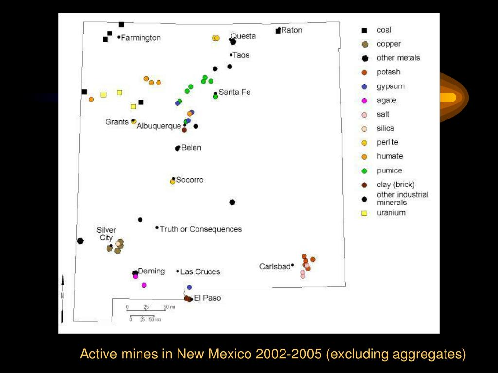Active mines in New Mexico 2002-2005 (excluding aggregates)