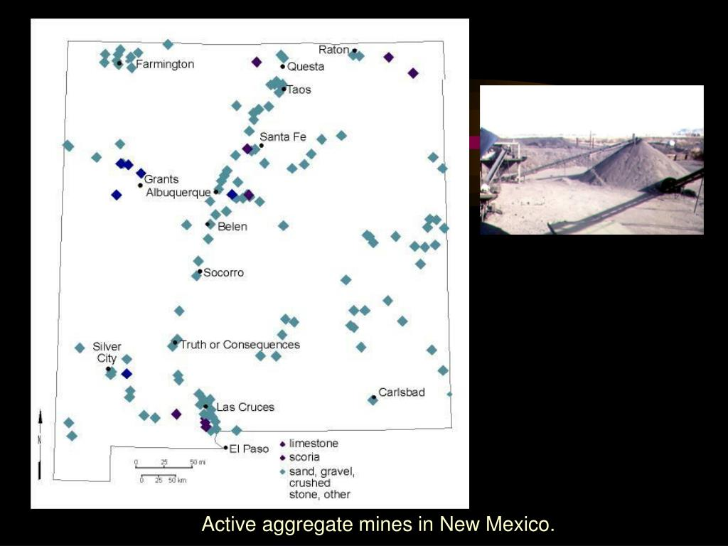 Active aggregate mines in New Mexico.