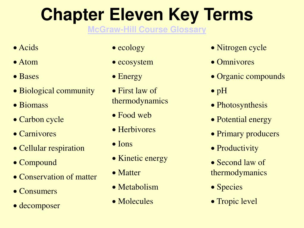 Chapter Eleven Key Terms