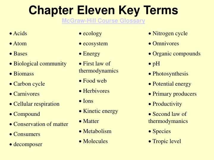 Chapter eleven key terms mcgraw hill course glossary