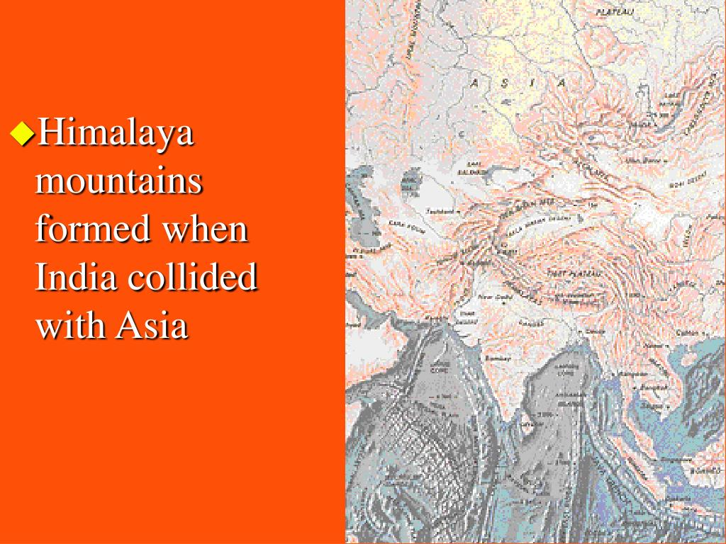 Himalaya mountains formed when India collided with Asia