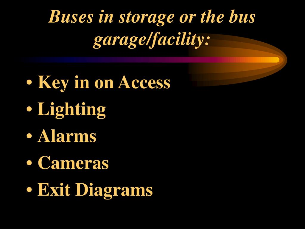 Buses in storage or the bus garage/facility: