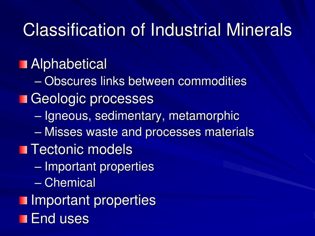 Classification of Industrial Minerals
