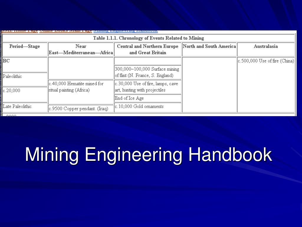 Mining Engineering Handbook