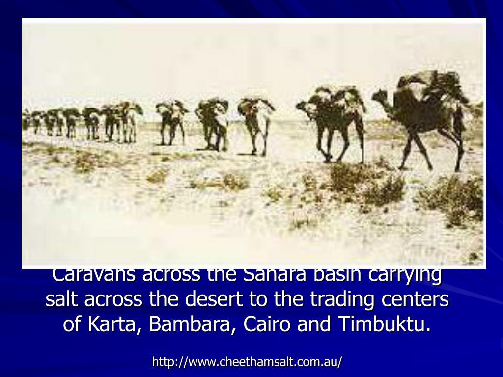 Caravans across the Sahara basin carrying salt across the desert to the trading centers of Karta, Bambara, Cairo and Timbuktu.