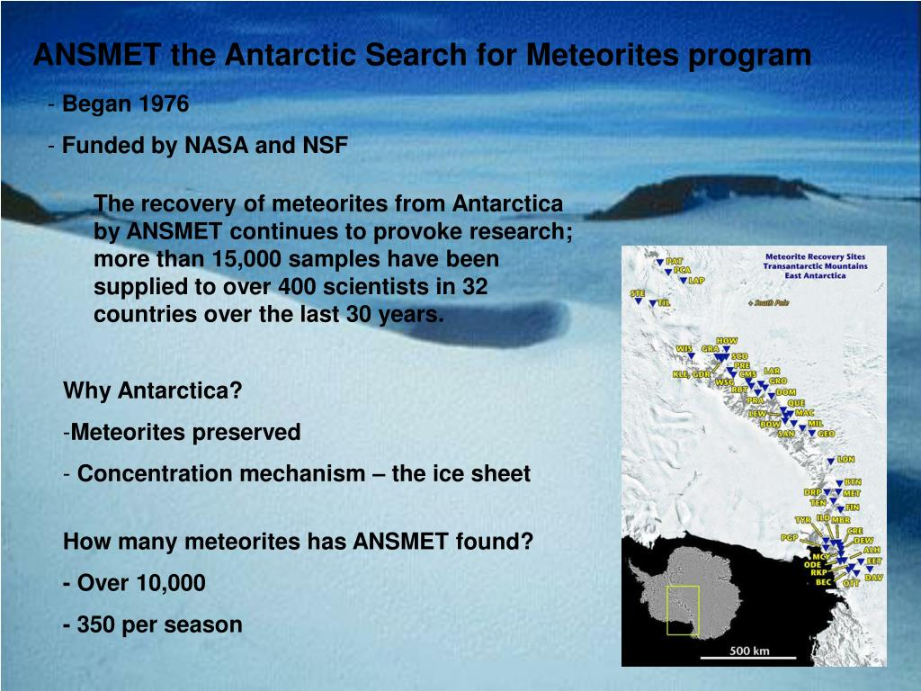 ANSMET the Antarctic Search for Meteorites program