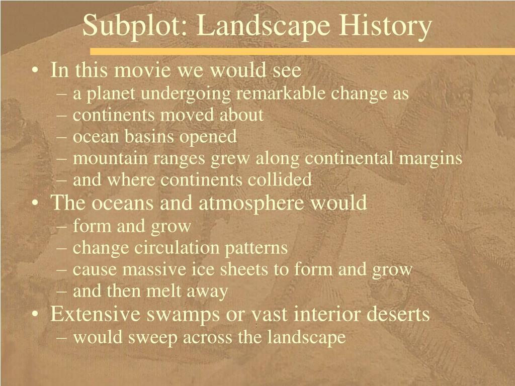 Subplot: Landscape History