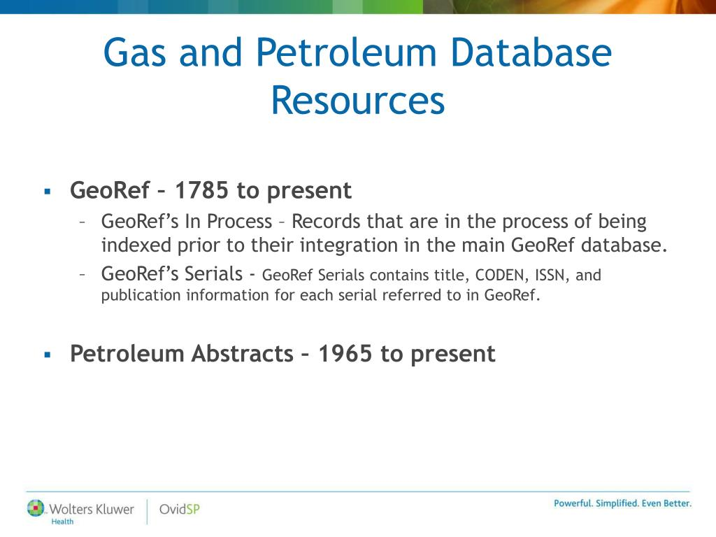 Gas and Petroleum Database Resources