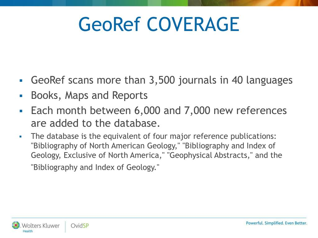 GeoRef COVERAGE