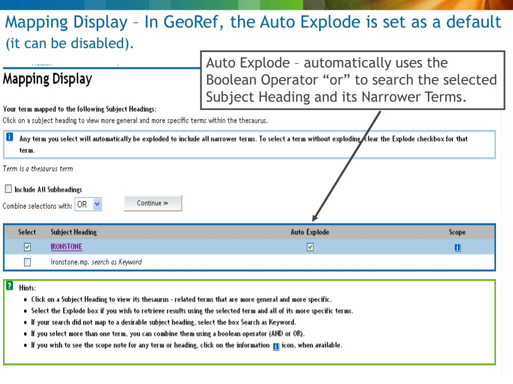 Mapping Display – In GeoRef, the Auto Explode is set as a default