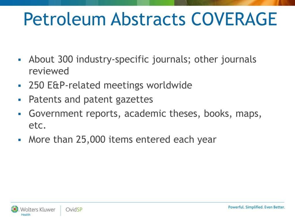 Petroleum Abstracts COVERAGE