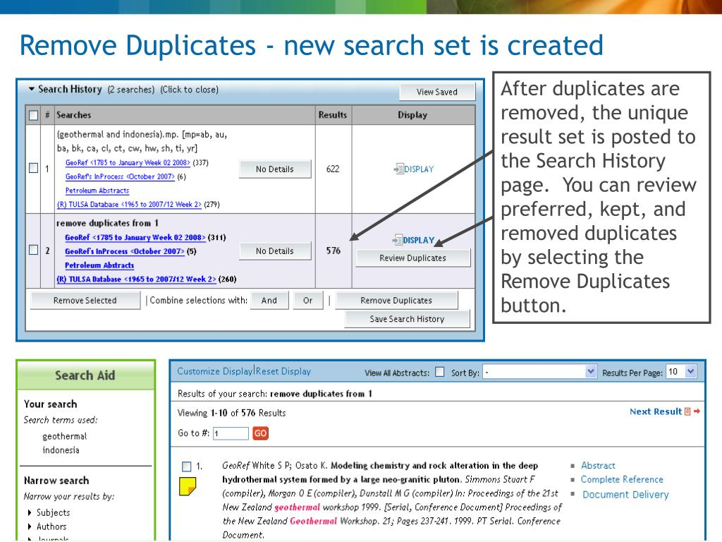 Remove Duplicates - new search set is created