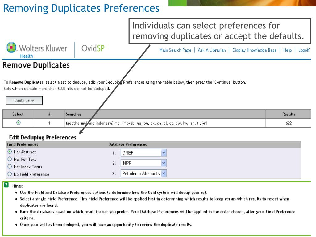 Removing Duplicates Preferences