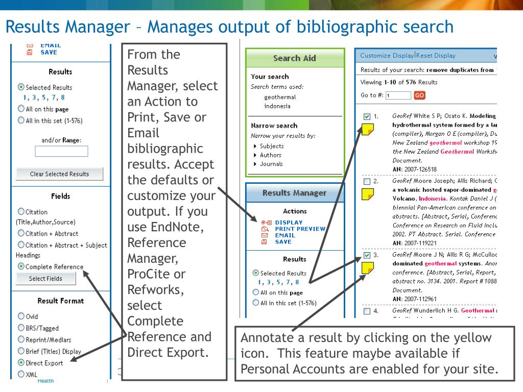 Results Manager – Manages output of bibliographic search