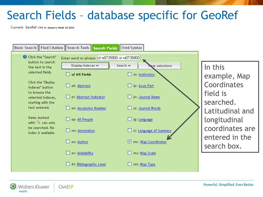 Search Fields – database specific for GeoRef