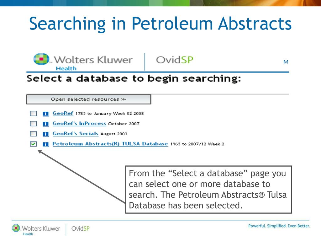 Searching in Petroleum Abstracts