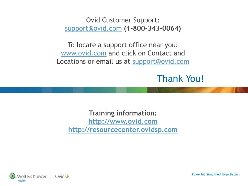 Ovid Customer Support: