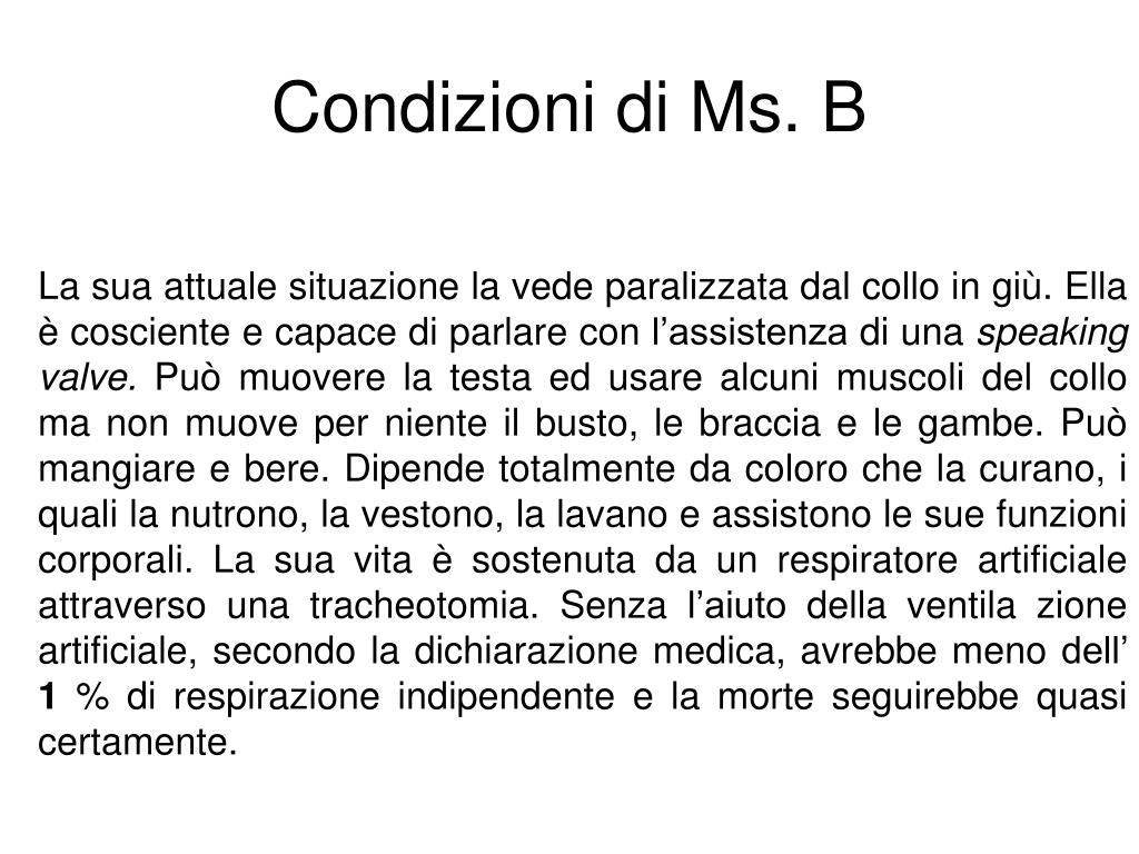 Condizioni di Ms. B