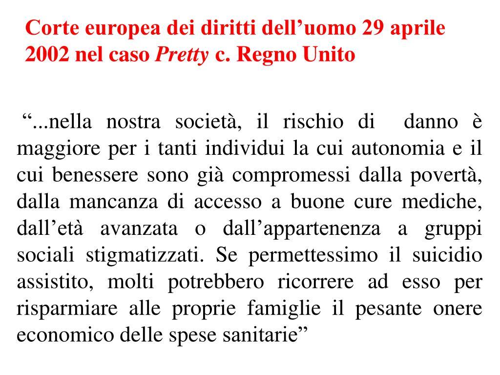 Corte europea dei diritti dell'uomo 29 aprile 2002 nel caso