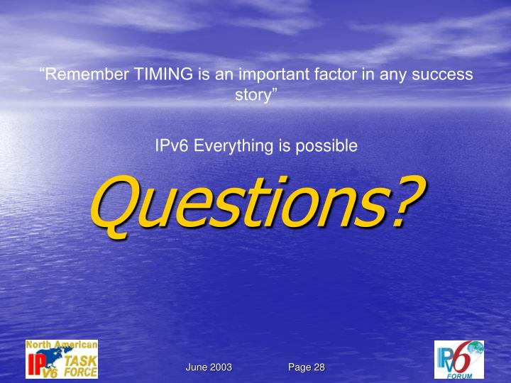 """""""Remember TIMING is an important factor in any success story"""""""