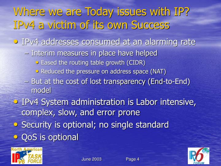 Where we are Today issues with IP?
