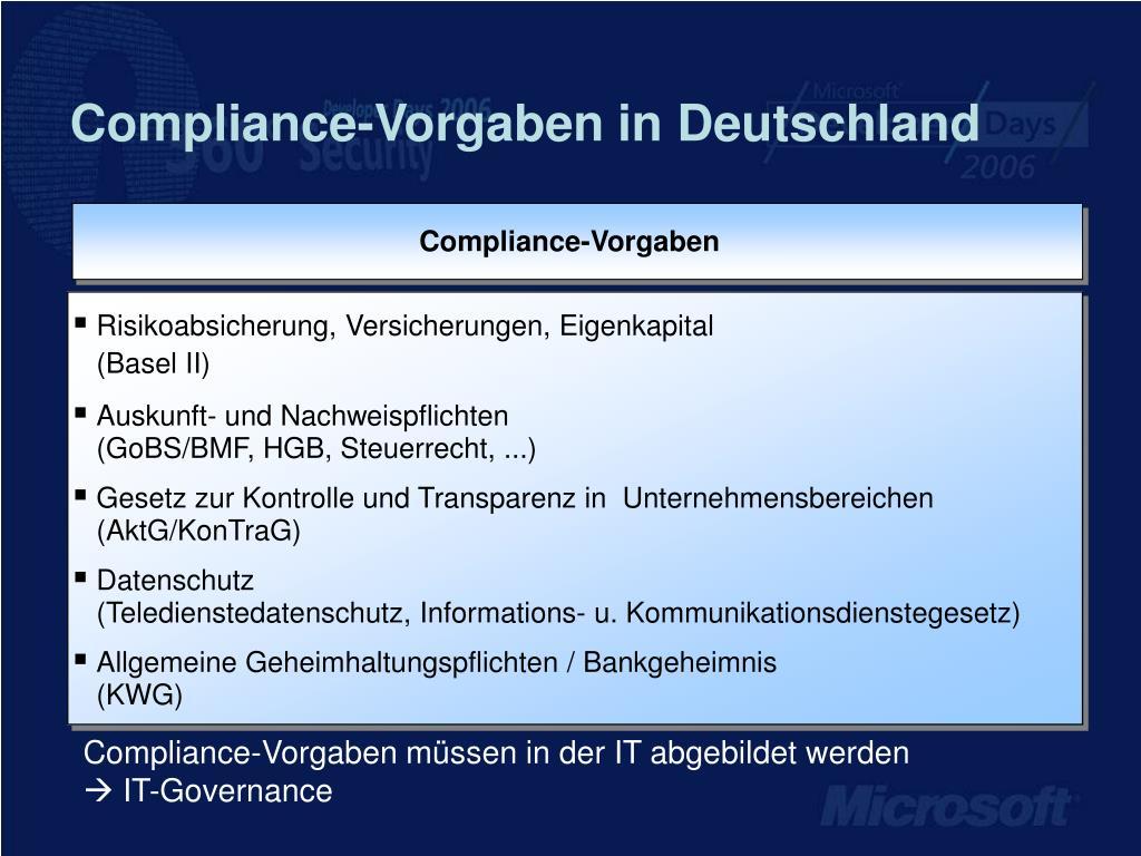 Compliance-Vorgaben in Deutschland