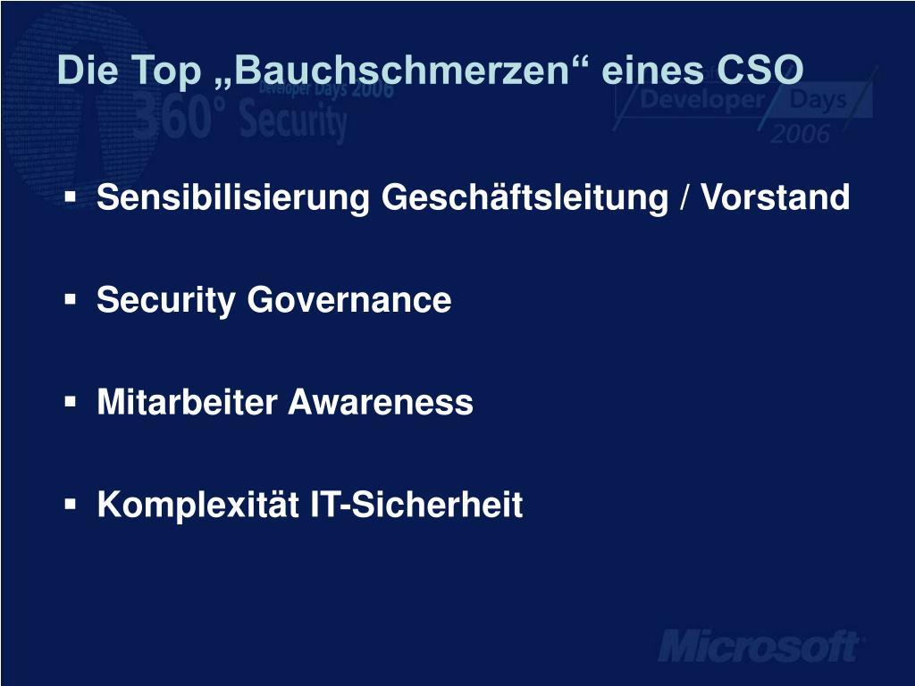 """Die Top """"Bauchschmerzen"""" eines CSO"""