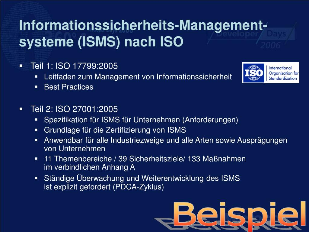 Informationssicherheits-Management-systeme (ISMS) nach ISO
